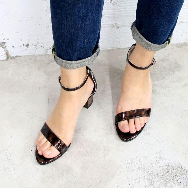 【手工訂製】安定鞋跟細一字帶中跟鞋_琥珀