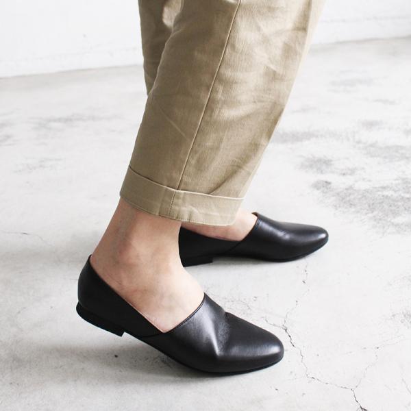 【訂製】雙色拼接真皮平底便鞋-黑