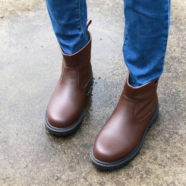 【訂製】真皮防水短靴-深棕
