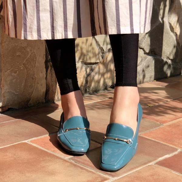 【訂製】安定鞋跟_牛漆皮氣質鍊條樂福鞋-藍