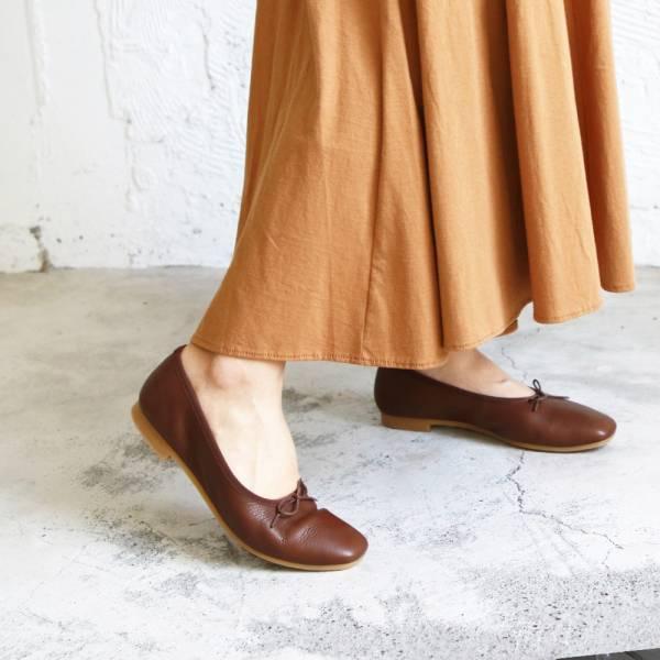 現貨【日本製】Recipe方頭真皮芭蕾舞鞋-棕