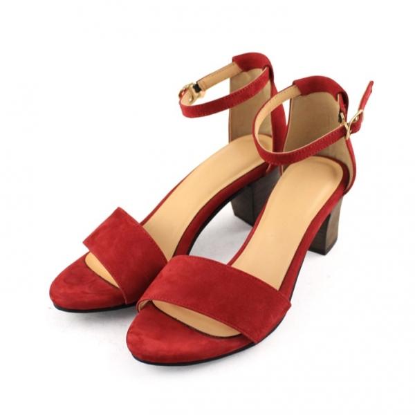 【訂製】春夏必備簡約一字設計中跟涼鞋 - 紅