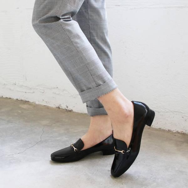 【訂製】安定鞋跟_牛漆皮氣質鍊條樂福鞋-黑