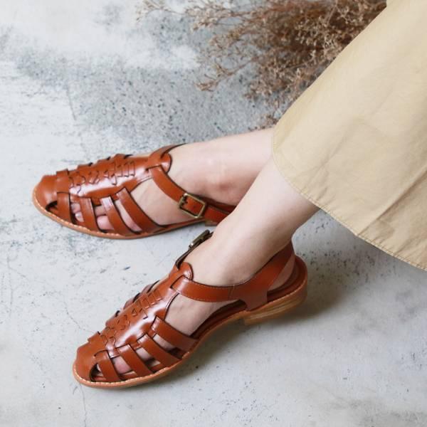 【訂製】真皮手工編織涼鞋-駝