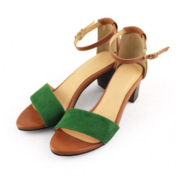 【訂製】春夏必備簡約一字設計中跟涼鞋 - 駝x綠