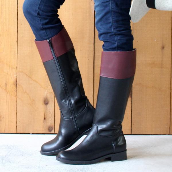 【手工訂製】修飾小腿肚真皮率性乘馬靴_黑x酒紅