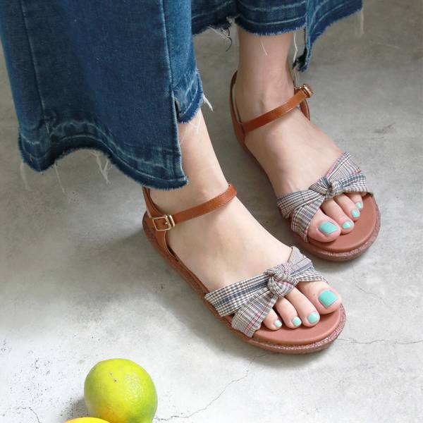 【訂製】Simple+蝴蝶結扭結漢堡底涼鞋-駝