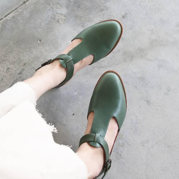 【訂製】T字素面真皮牛津鞋-墨綠