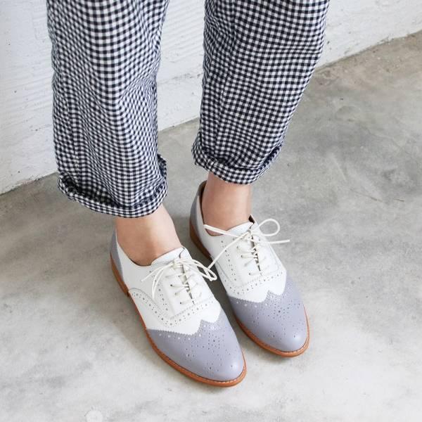 【訂製】外尖內圓/英倫風綁帶真皮牛津鞋-莫蘭迪