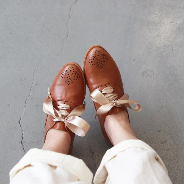 【訂製】經典真皮雕花緞帶牛津鞋-駝