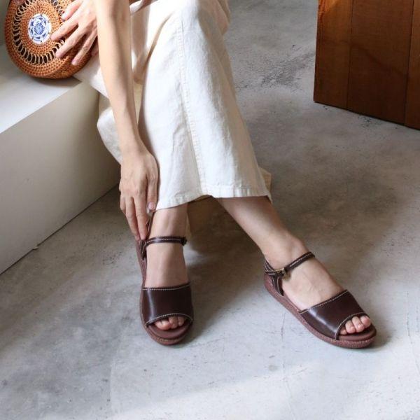 【手工訂製】日系鄉村風一片式漢堡底涼鞋-深棕