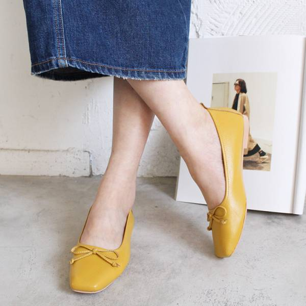 【現貨】氣質小方頭芭蕾舞鞋-黃