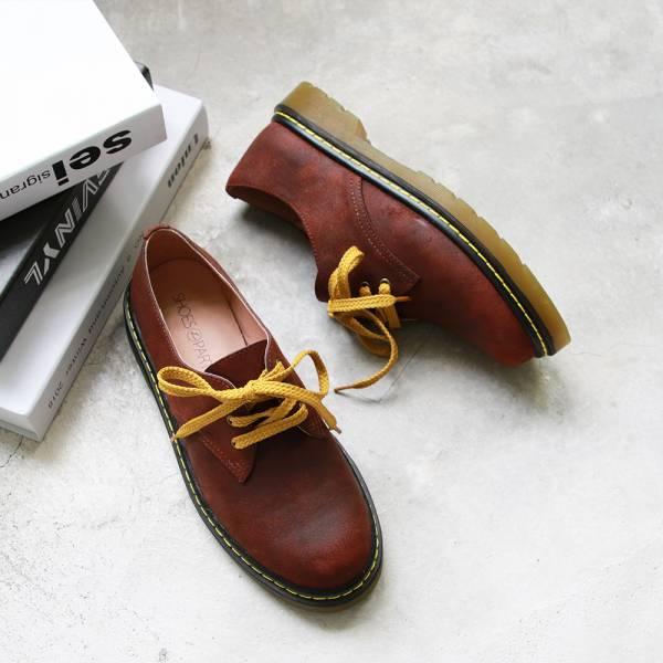 【訂製】寬腳版OK!全真皮厚底綁帶鞋-紅棕