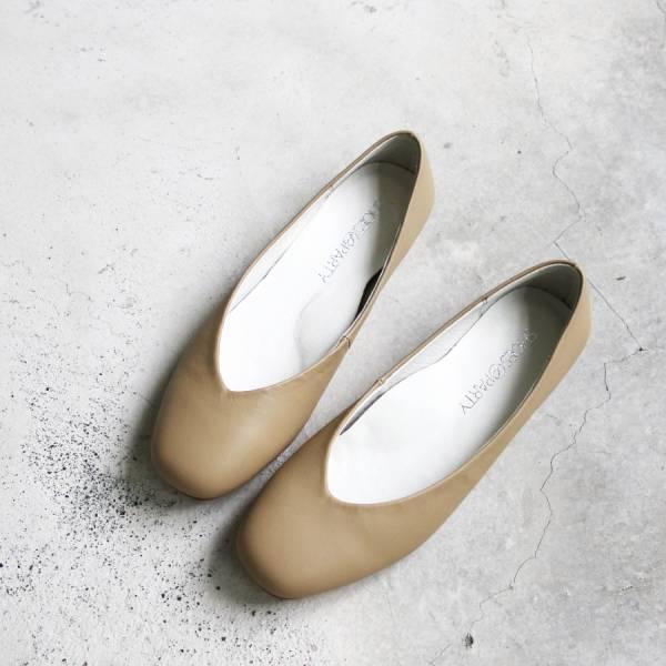 【樣品鞋】小方頭素面綿羊皮平底鞋-23.0