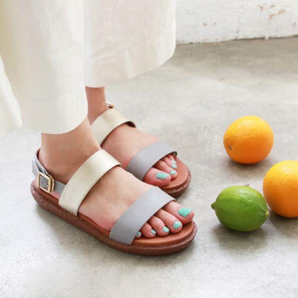 【訂製】Simple+久走不累簡約輕便雙帶涼鞋-莫蘭迪