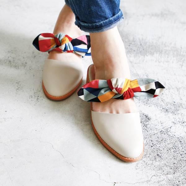 【訂製】異素材蝴蝶結穆勒鞋-米白