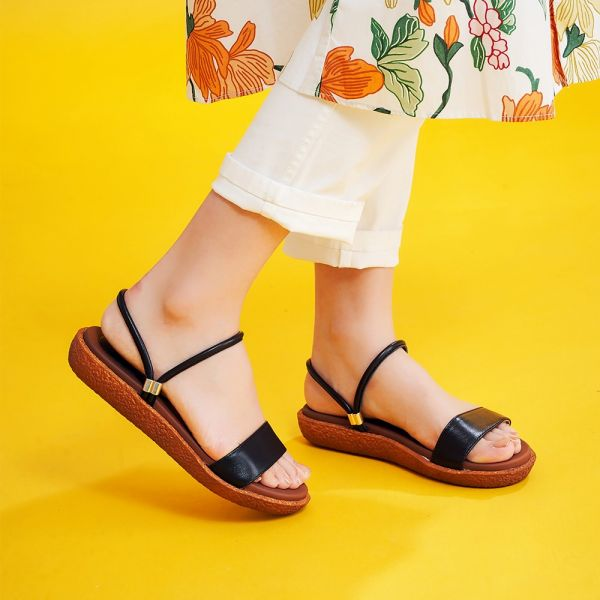 【訂製】Simple+久走不累一字帶兩穿涼鞋-黑