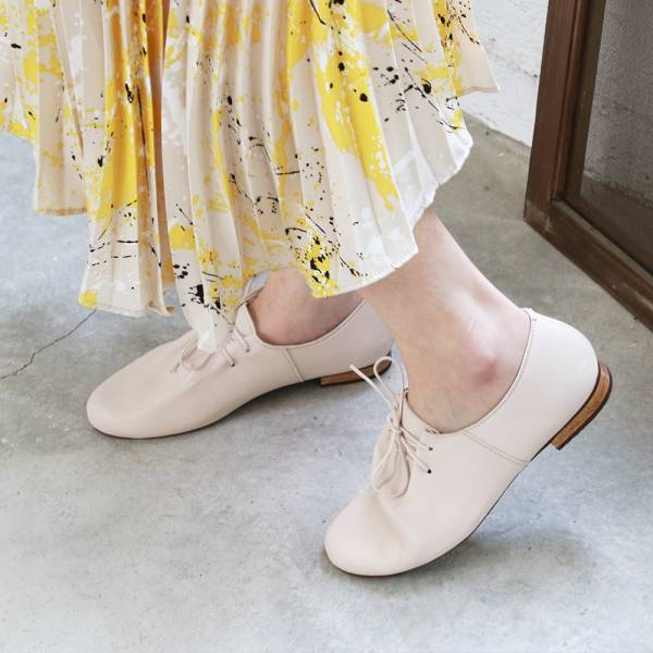 【訂製】羊皮綁帶休閒鞋-米白