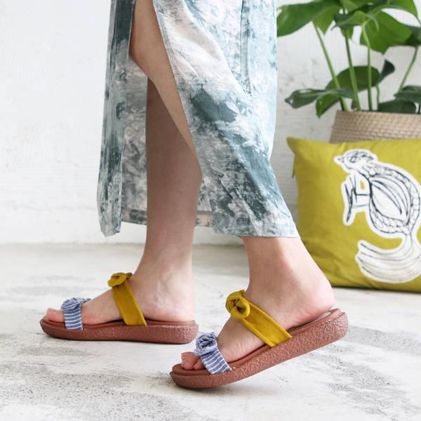 【手工訂製】雙蝴蝶結漢堡底涼拖鞋-黃