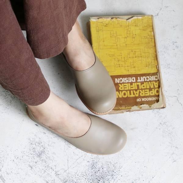 【訂製】世界系列_日本製Recipe真皮大頭鞋/米灰
