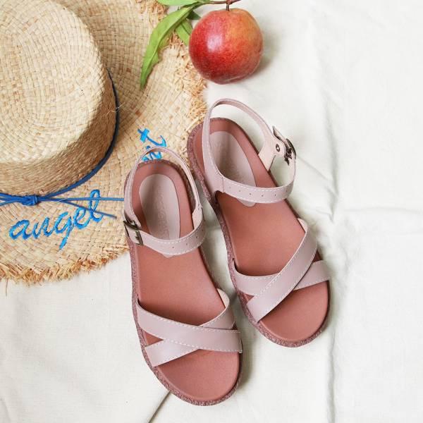 【訂製】Simple+交叉設計漢堡底涼鞋-粉紅
