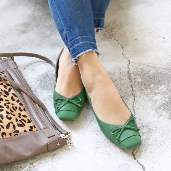 【手工訂製】拼接設計小方頭真皮芭蕾舞鞋/綠