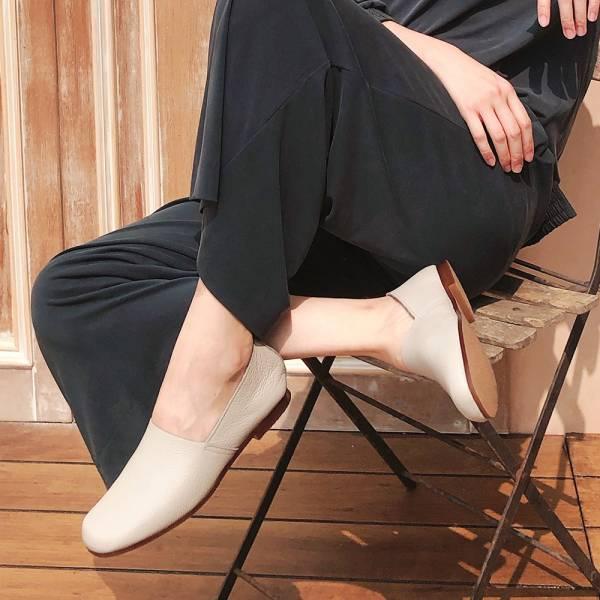 預購【日本製】Recipe方頭L型真皮便鞋-淺灰