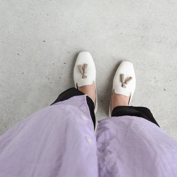 【預購】世界系列_日本製Recipe小方頭流蘇便鞋_象牙白