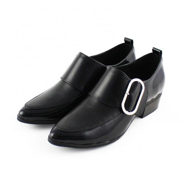 【訂製】橢圓扣個性俐落踝靴 - 黑