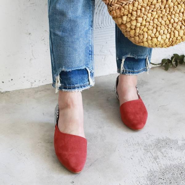 【訂製】異素材拼接便鞋-橘