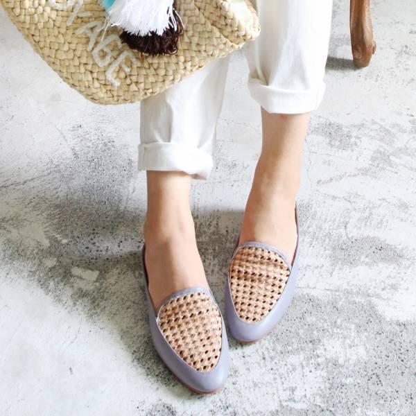 【手工訂製】一套就走,真皮手工編織穆勒鞋_莫蘭迪紫