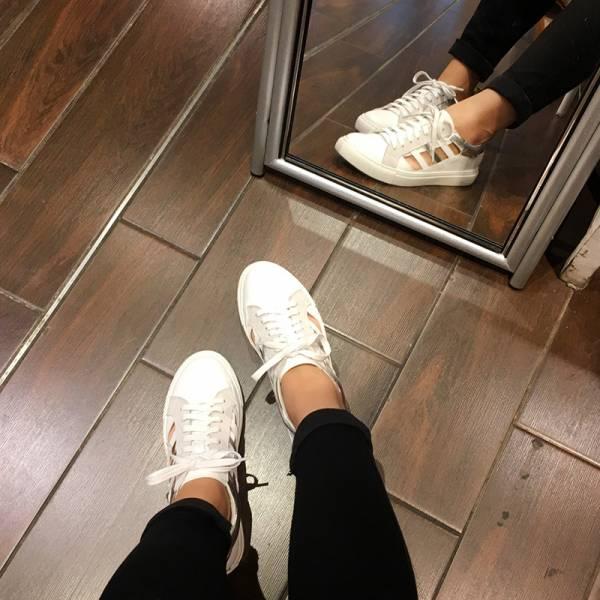 【現貨】真皮簍空休閒鞋-白(可退不可換)