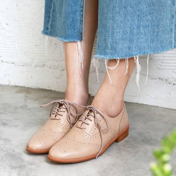 【訂製】外尖內圓/英倫風綁帶真皮牛津鞋-米
