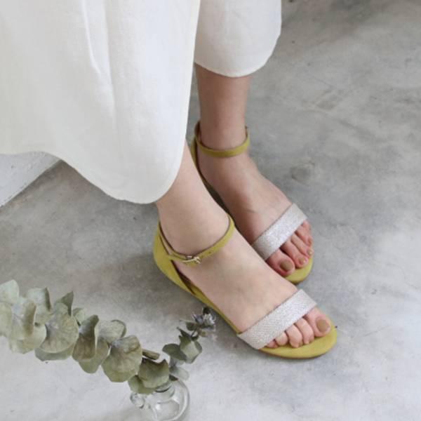 【訂製】小坡跟一字帶涼鞋-黃