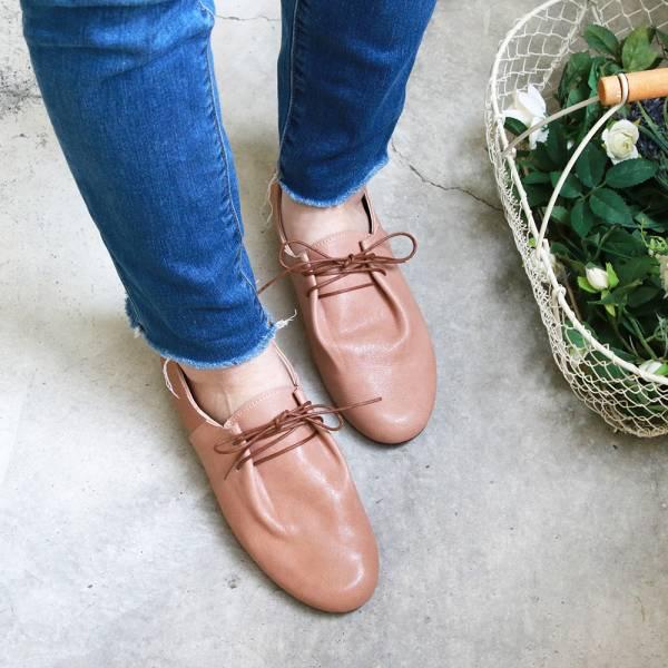 【訂製】羊皮綁帶休閒鞋-棕