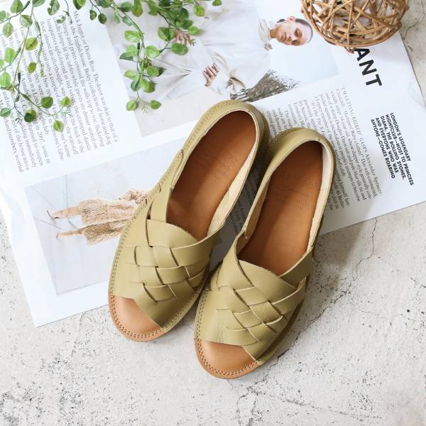 【現貨】世界系列_日本製Recipe魚口設計編織涼鞋_酪梨綠