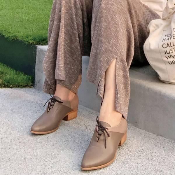【手工訂製】小V造型_拼接設計綁帶踝靴_可可棕