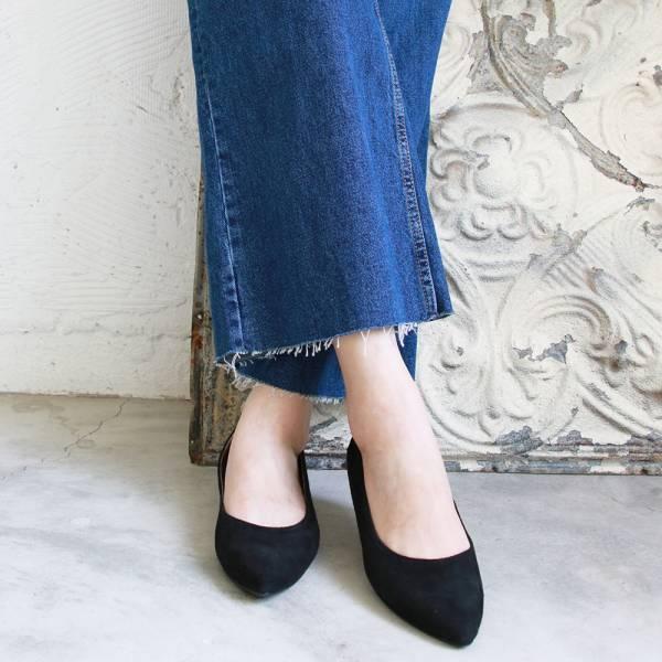 【訂製】高質感羊絨尖頭低跟鞋-黑
