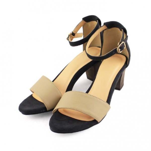 【訂製】春夏必備簡約一字設計中跟涼鞋 - 淺米x藍