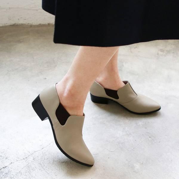【訂製】尖頭側鬆緊鞋-淺灰