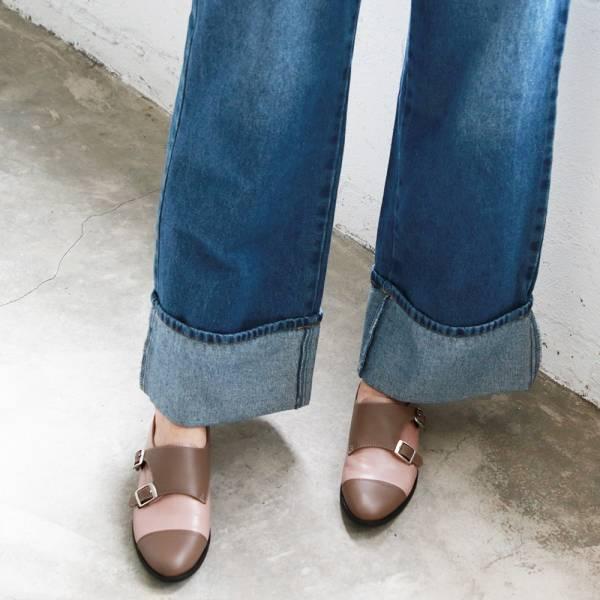 【訂製】英倫風拼接孟克鞋-棕粉