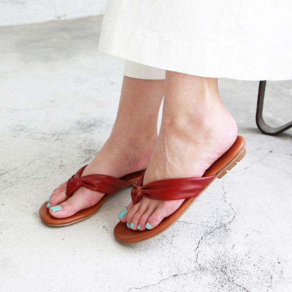 【訂製】全真皮扭結拖鞋-紅