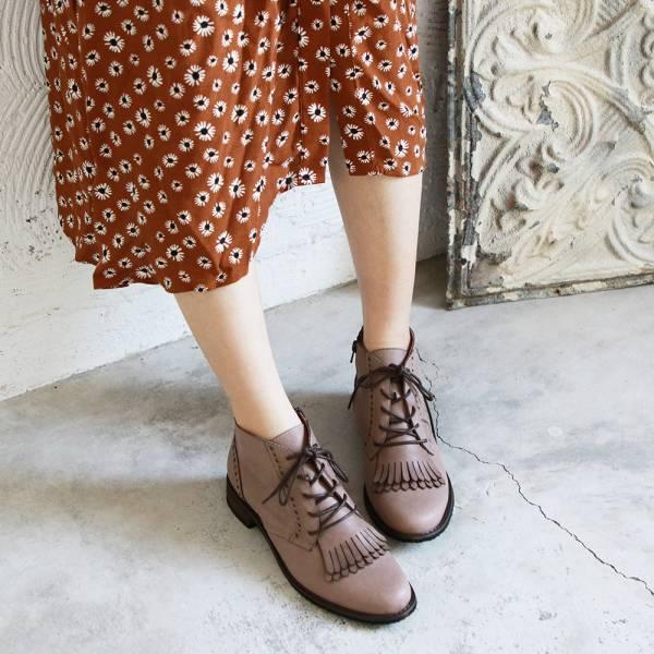 【訂製】寬腳板OK!流蘇片牛津真皮短靴-淺棕