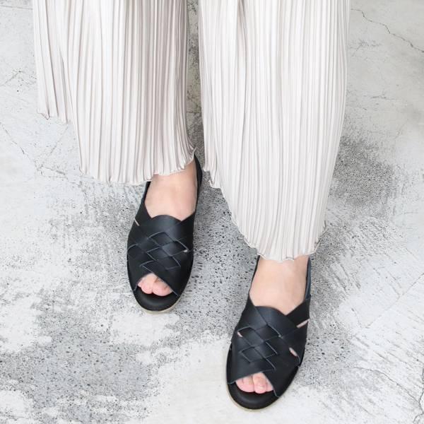 【預購】世界系列_日本製Recipe魚口設計編織涼鞋_黑