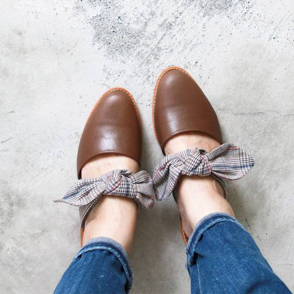 【訂製】異素材蝴蝶結穆勒鞋-淺棕