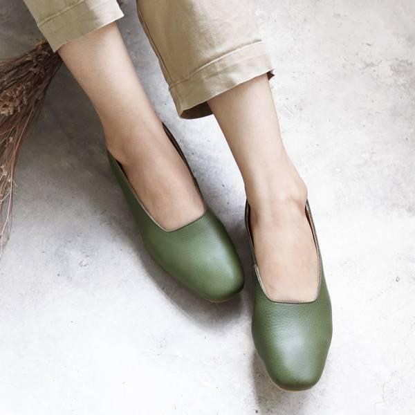 【訂製】世界系列_日本製Recipe復古方頭真皮便鞋/橄欖綠