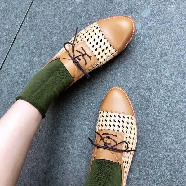 【訂製】外尖內圓真皮編織拼接紳士鞋/淺棕