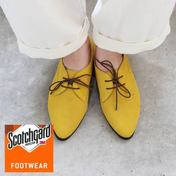 【訂製】3M防潑水技術,晴雨兩穿真皮綁帶鞋-黃