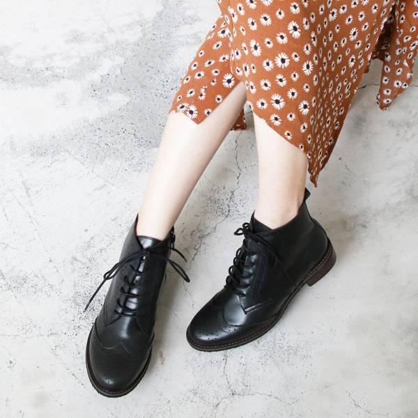 【訂製】寬腳版OK!真皮牛津短靴-黑