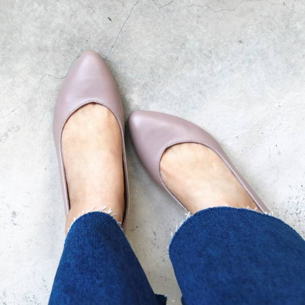 【訂製】大人的素色真皮細跟鞋-藕紫